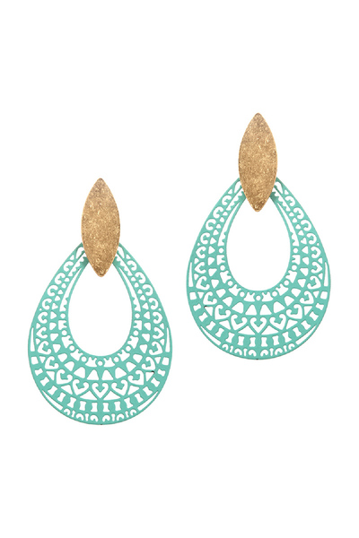 Color-coated Metal Filigree Open-cut Teardrop Earring