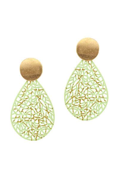 Accented Color-coated Metal Filigree Post Teardrop Earring