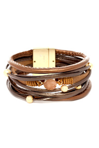 Druzy Accent Layered Magnetic Finish Leather Bracelet