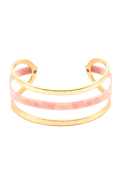 Multi-colored Acrylic Metal Cuff Bracelet