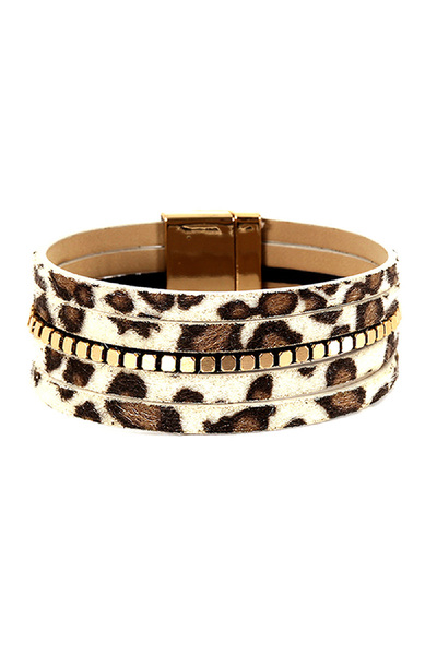 Leopard Print Layered Leather Magnetic Finish Bracelet
