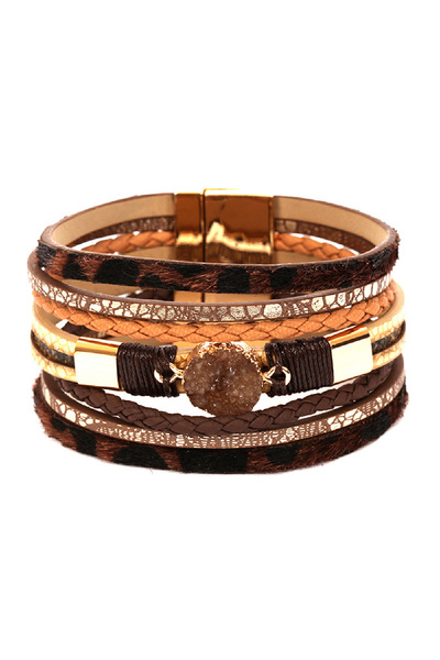 Leopard Print Layered Leather Druzy Magnetic Finish Bracelet