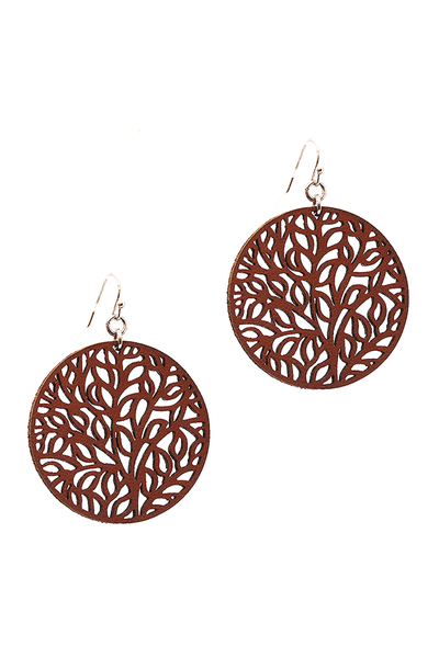 Filigree Leather Round Earring