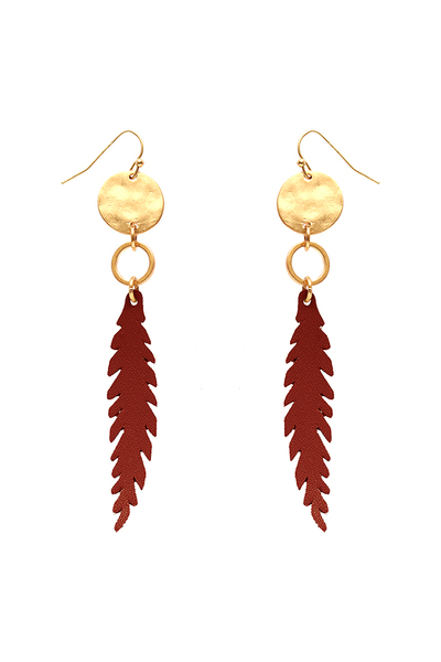 Metal Leather Leaf Fish Hook Earring