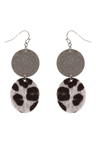 Leopard Print Leather Metal Earring