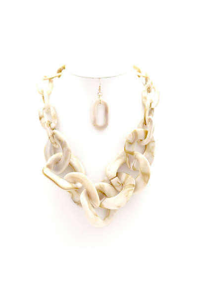 "Acrylic Plastic Linked Chain 20"" Necklace Earring SET"