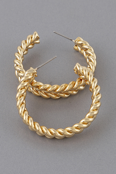 Braided Metal Hoop Earrings