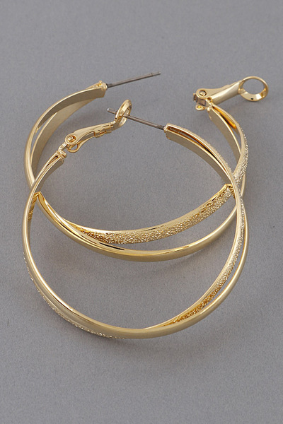 Cross Metal Hoop Earrings