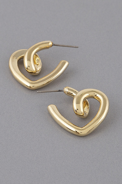 Weaved Heart Hoop Earrings