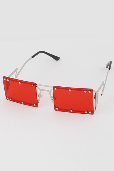 Studded Rimless Rectangular Sunglasses