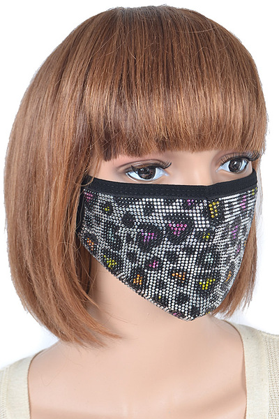 Multi Heart Pattern Stone Fashion Mask