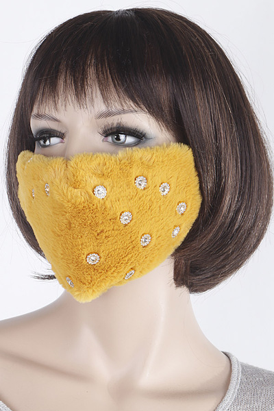 Flower Rhinestone Fur Face Mask