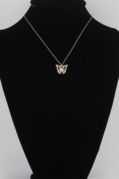 Rhinestone Butterfly Pendant Necklace
