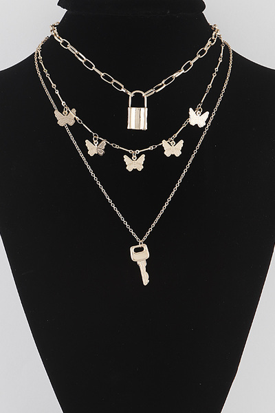 Lock Butterfly Necklace