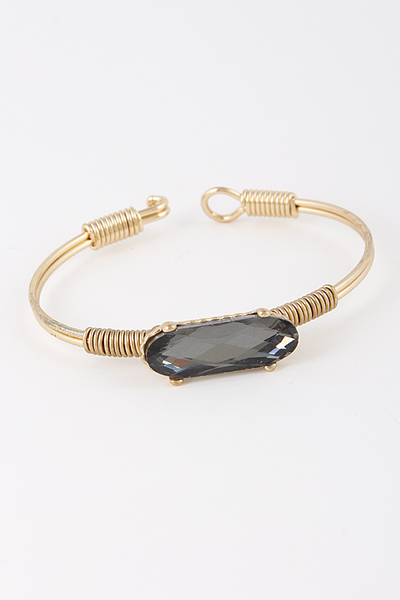 Oval Stone Open Cut Bracelet