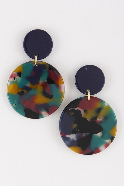 Two Circle Acrylic Stones Earrings