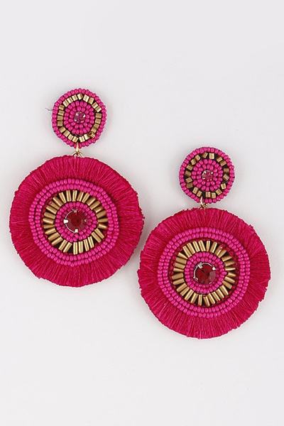 Spiral Circle Beaded Earrings