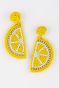 Lemon Beaded Earrings