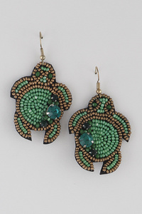 Beaded Turtle Earrings