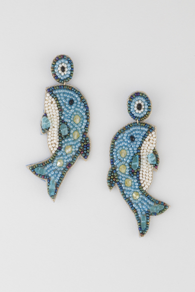 Beaded Dolphin Stud Earrings