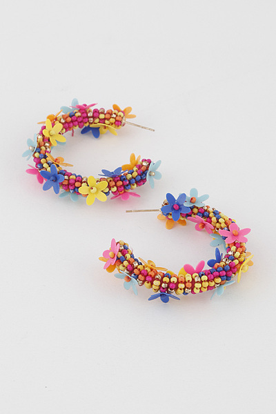 Upside down Multi Color Beads Flower Hoop Earring