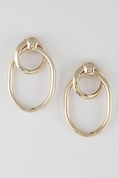 Double Cross Ellipse Earrings