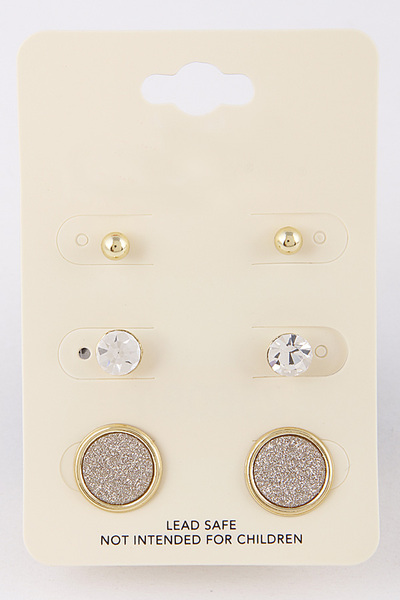 Three Round Stud Earring Set