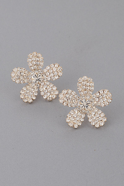 Luxury Rhinestone Flower Earrings