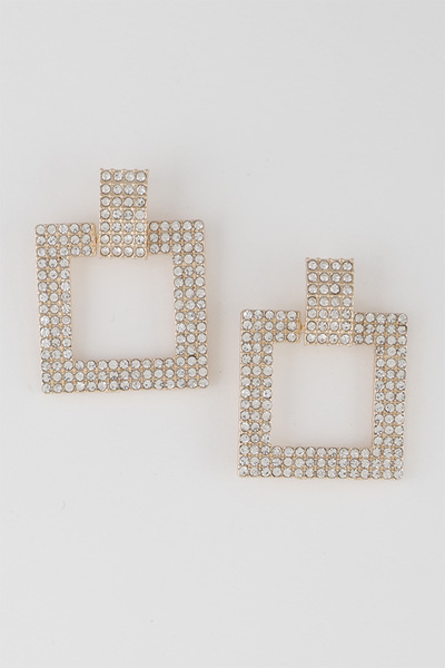 Open Cut Square Rhinestone Earrings