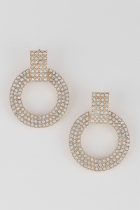 Open Cut Round Rhinestone Earrings