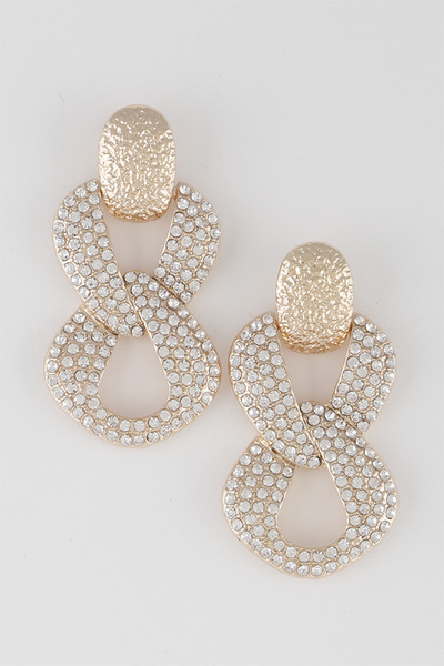 Melted Chain Rhinestone Earrings