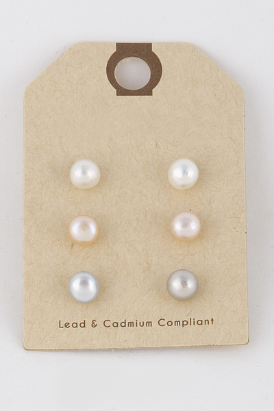 Pearl Stud Earrings Set