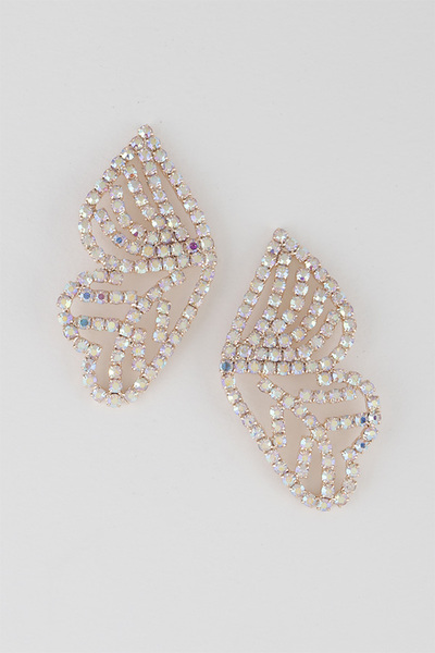 Leaves Rhinestone Frame Earrings