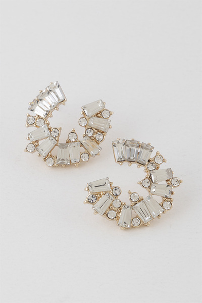 Multi Geo Rhinestone Stud Earrings