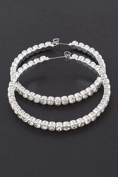 Round Rhinestone Hoop Earrings