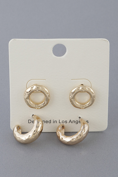 Hammered Shiny Earrings Set