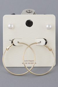 Pearl And Metal Earrings