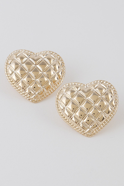 Quilted Pattern Heart Earrings