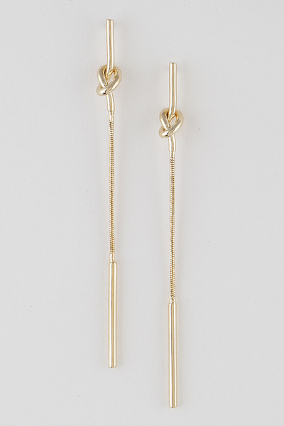 Knotted Bar Drop Earrings