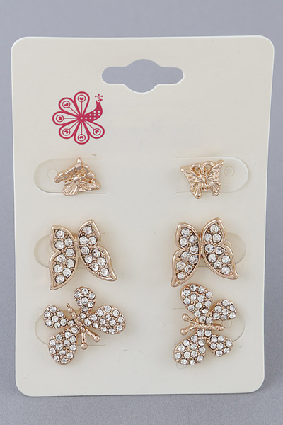 Different Sized Butterfly Earring