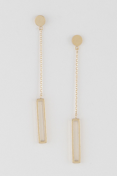 Open Cut Rectangle Drop Earrings