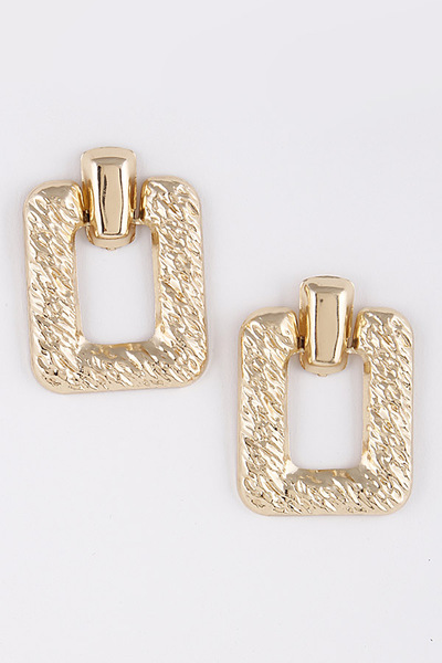 Hammered Rectangle Metal Earrings