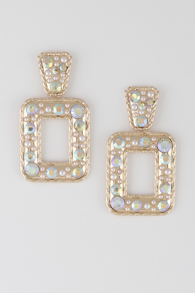 Open Cut Square Drop Earrings
