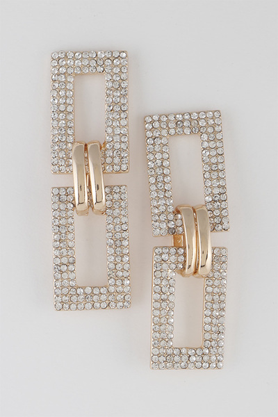 Rhinestone Chain Drop Earrings
