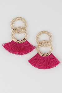 Unique Rings Tassel Drop Earrings