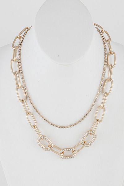 Rhinestone Multi Layered Necklace