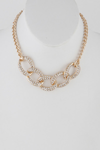 Chainlink Choker Necklace with Rhinestones