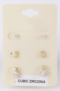 Pineapple & Circle Stud Earring Set