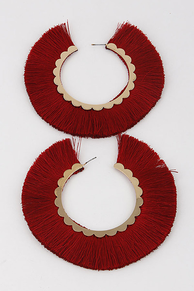 Beaded Fringe Round Earrings