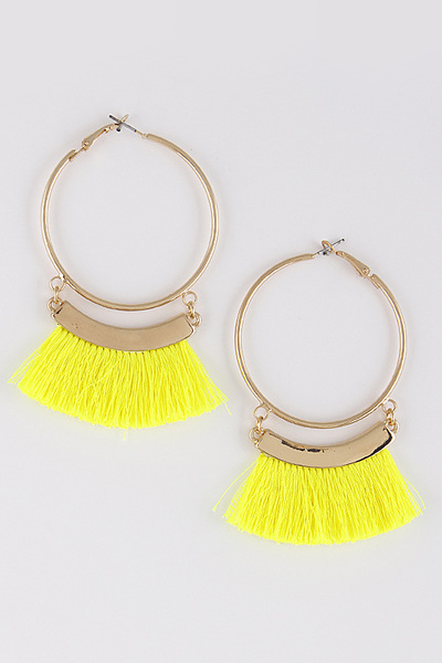 Hoop Daily Earrings With Tassel Details